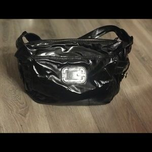 G by Guess Glossy Black Shoulder Purse